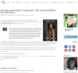 Fabulosity Reads features Unelmoija The Dreamshifter on new Sneaky Saturday section