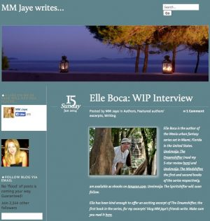 Author site features interview with Elle
