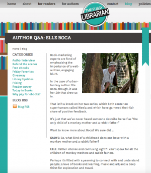 Fun book website interview with Elle Boca